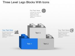 Nk Three Level Lego Blocks With Icons Powerpoint Template Slide