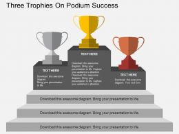 nk Three Trophies On Podium Success Flat Powerpoint Design