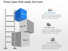nl Three Cubes With Ladder And Icons Powerpoint Template