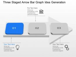 Nl Three Staged Arrow Bar Graph Idea Generation Powerpoint Template Slide