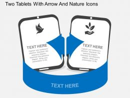 nl Two Tablets With Arrow And Nature Icons Flat Powerpoint Design