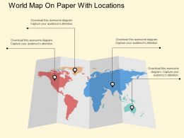 nm World Map On Paper With Locations Flat Powerpoint Design
