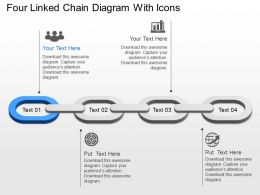 Nn Four Linked Chain Diagram With Icons Powerpoint Template
