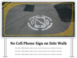 No Cell Phone Sign On Side Walk
