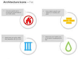 No Flammable Things Bricks Track Water Drop Ppt Icons Graphics