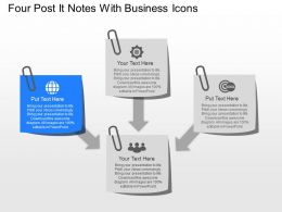 No Four Post It Notes With Business Icons Powerpoint Template