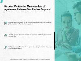No Joint Venture For Memorandum Of Agreement Between Two Parties Proposal Ppt Files