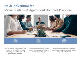 No Joint Venture For Memorandum Of Agreement Contract Proposal Ppt Slide