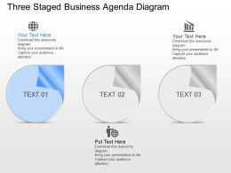 no Three Staged Business Agenda Diagram Powerpoint Template