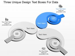 no Three Unique Design Text Boxes For Data Powerpoint Temptate