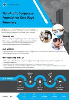 Non Profit Corporate Foundation One Page Summary Presentation Report Infographic PPT PDF Document