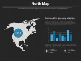 North Map With Gender Ratio Chart Powerpoint Slides