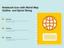 Notebook Icon With World Map Outline And Spiral String
