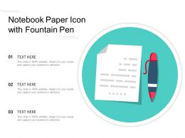 Notebook Paper Icon With Fountain Pen