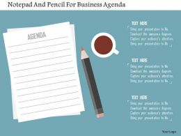 Notepad And Pencil For Business Agenda Flat Powerpoint Design