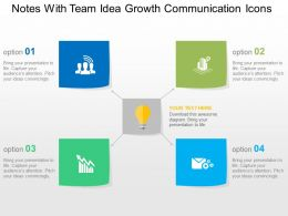 Notes With Team Idea Growth Communication Icons Flat Powerpoint Design