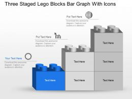 Np Three Staged Lego Blocks Bar Graph With Icons Powerpoint Template Slide