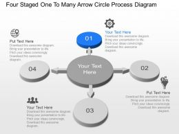 Nq Four Staged One To Many Arrow Circle Process Diagram Powerpoint Template