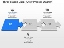 Nr Three Staged Linear Arrow Process Diagram Powerpoint Template Slide