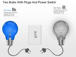 nr Two Bulbs With Plugs And Power Switch Powerpoint Temptate