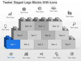 Nt Twelve Staged Lego Blocks With Icons Powerpoint Template Slide