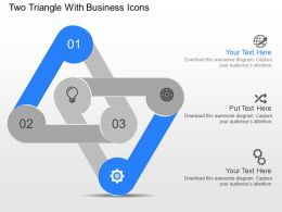 nu Two Triangle With Business Icons Powerpoint Temptate