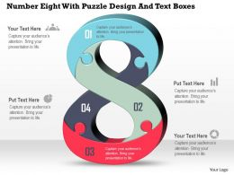 Number Eight With Puzzle Design And Text Boxes Powerpoint Template