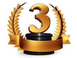 Number Three Golden Laurel Design Stock Photo