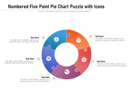 Numbered Five Point Pie Chart Puzzle With Icons