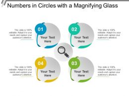Numbers In Circles With A Magnifying Glass