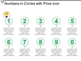 Numbers In Circles With Prize Icon