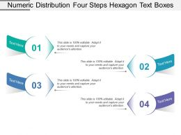 Numeric Distribution Four Steps Hexagon Text Boxes