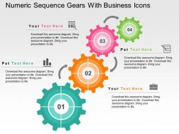 Numeric Sequence Gears With Business Icons Flat Powerpoint Design