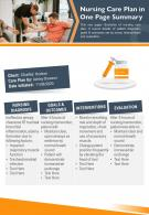 Nursing Care Plan In One Page Summary Presentation Report Infographic PPT PDF Document