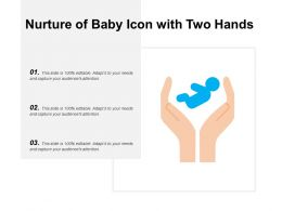 Nurture Of Baby Icon With Two Hands