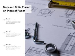 Nuts And Bolts Placed On Piece Of Paper