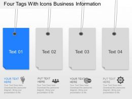 Nv Four Tags With Icons Business Information Powerpoint Template
