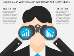 oa Business Man With Binocular And Growth And Decay Charts Flat Powerpoint Design