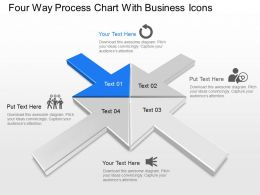 Oa Four Way Process Chart With Business Icons Powerpoint Template