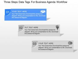 oa Three Steps Data Tags For Business Agenda Workflow Powerpoint Template