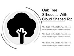 Oak Tree Silhouette With Cloud Shaped Top