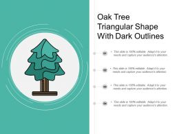 Oak Tree Triangular Shape With Dark Outlines