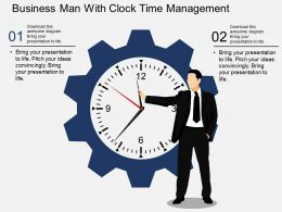 ob Business Man With Clock Time Management Flat Powerpoint Design