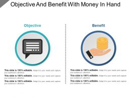 Objective And Benefit With Money In Hand Powerpoint Guide