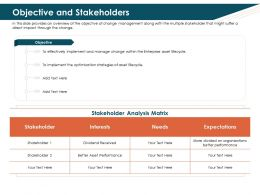 Objective And Stakeholders Divided Ppt Powerpoint Presentation Outline