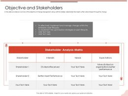 Objective And Stakeholders Interests M2122 Ppt Powerpoint Presentation Inspiration Master Slide