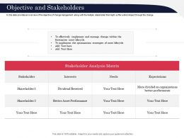 Objective And Stakeholders Management Ppt Powerpoint Presentation Template Vector