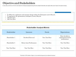 Objective And Stakeholders Matrix Ppt Powerpoint Presentation Gallery Slideshow