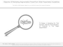 Objective Of Marketing Segmentation Powerpoint Slide Presentation Guidelines