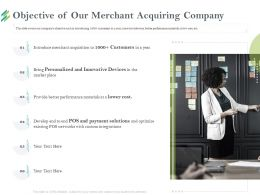 Objective Of Our Merchant Acquiring Company Place Ppt Powerpoint Presentation Layouts Professional